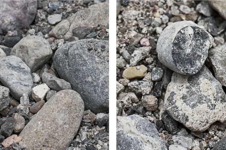 بينما تستخدم الخرسانة التقليدية حجراً خاماً بالكامل (يسار الصورة)، تستخدم الخرسانة المعاد تدويرها (يمين الصورة) مزيجاً متساوياً من المواد الخام ومواد البناء الأخرى المعاد تدويرها