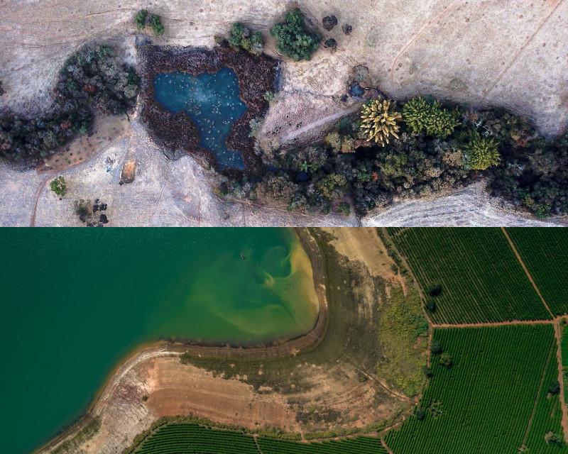 أعلى الصورة: الجليد يكسو مزرعة في ولاية ميناس جيرايس في البرازيل يوم 30 يوليو. أسفل الصورة: ضفة جافة بالقرب من مزرعة بن في حوض نهر بارانا في ميناس جيرايس قبل شهر واحد فقط
