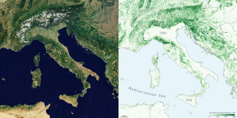خريطة إيطاليا والدول المحيطة (إلى اليسار)، مع بيانات الأقمار الصناعية (إلى اليمين) التي تظهر الكتلة الحيوية فوق الأرض من الغابات