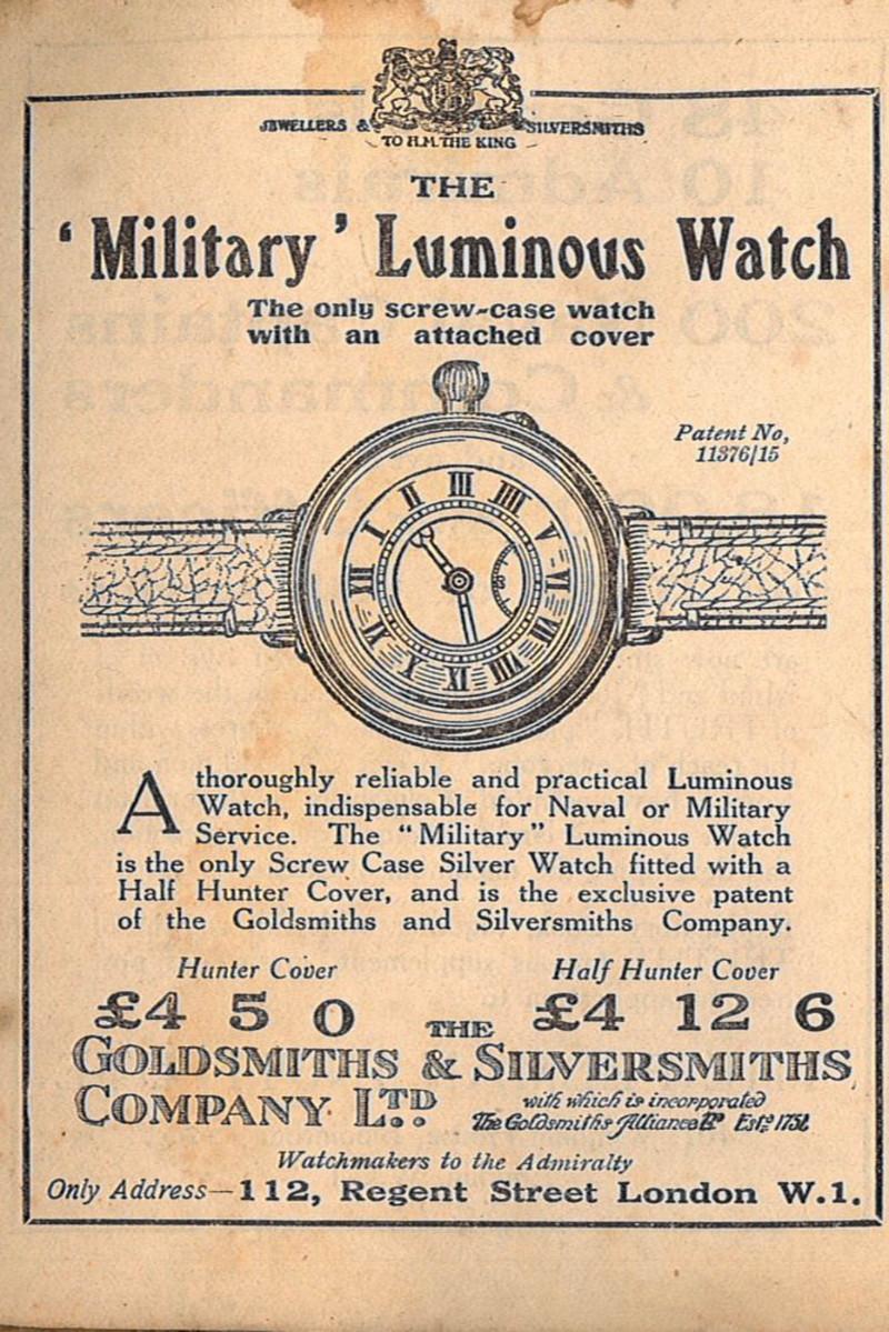 إعلان عن ساعة يد عسكرية، عام 1918