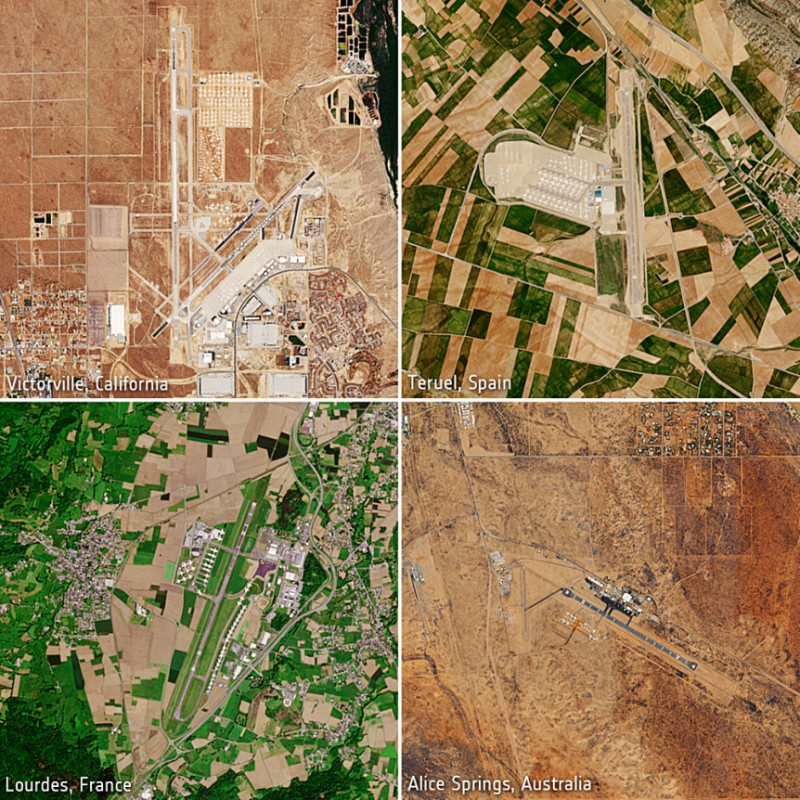 """التقطت بعثة """"كوبرنيكوس"""" صورا للطائرات المركونة حول العالم في مايو 2020"""