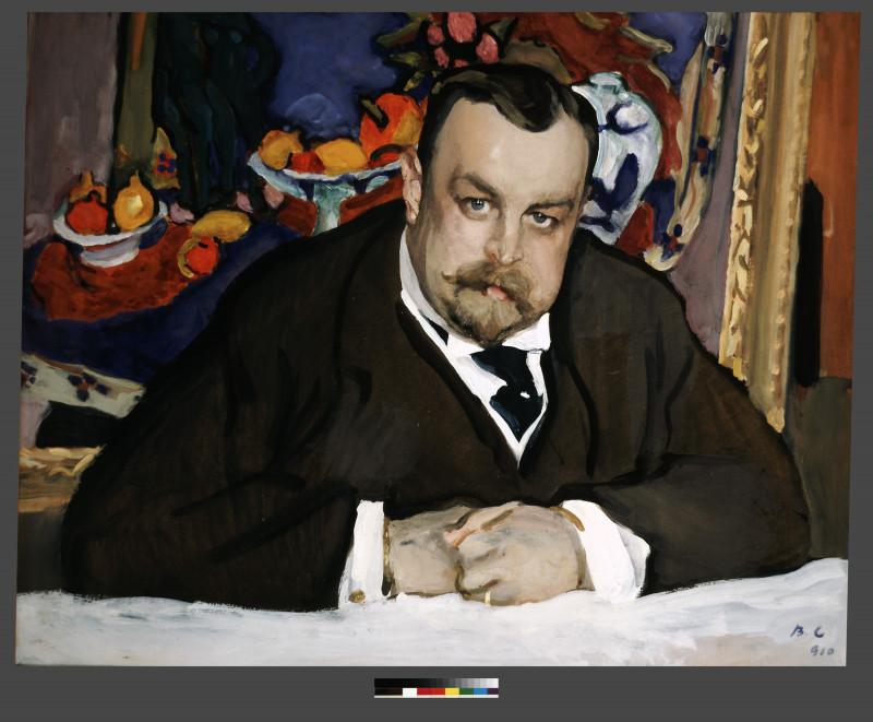 لوحة الرسام الروسي فالينتين سيروف التي رسم فيها جامع الأعمال إيفان موروزوف، من عام 1910