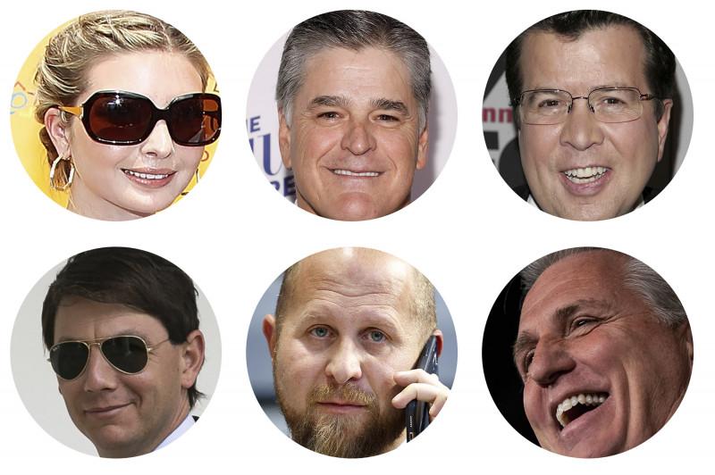 (من أعلى اليسار وبحسب دوران عقارب الساعة) إيفانكا ترامب، وشون هانيتي، ونيل كافوتو، وكيفين مكارثي، وبراد بارسكال، وهوغان جيدلي.