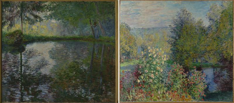 لوحتين للفنان كلود مونيه: (من اليسار) لوحة البركة في مونتغيرون من عام 1876، ولوحة ركن الحديقة في مونتاغ من عام 1876