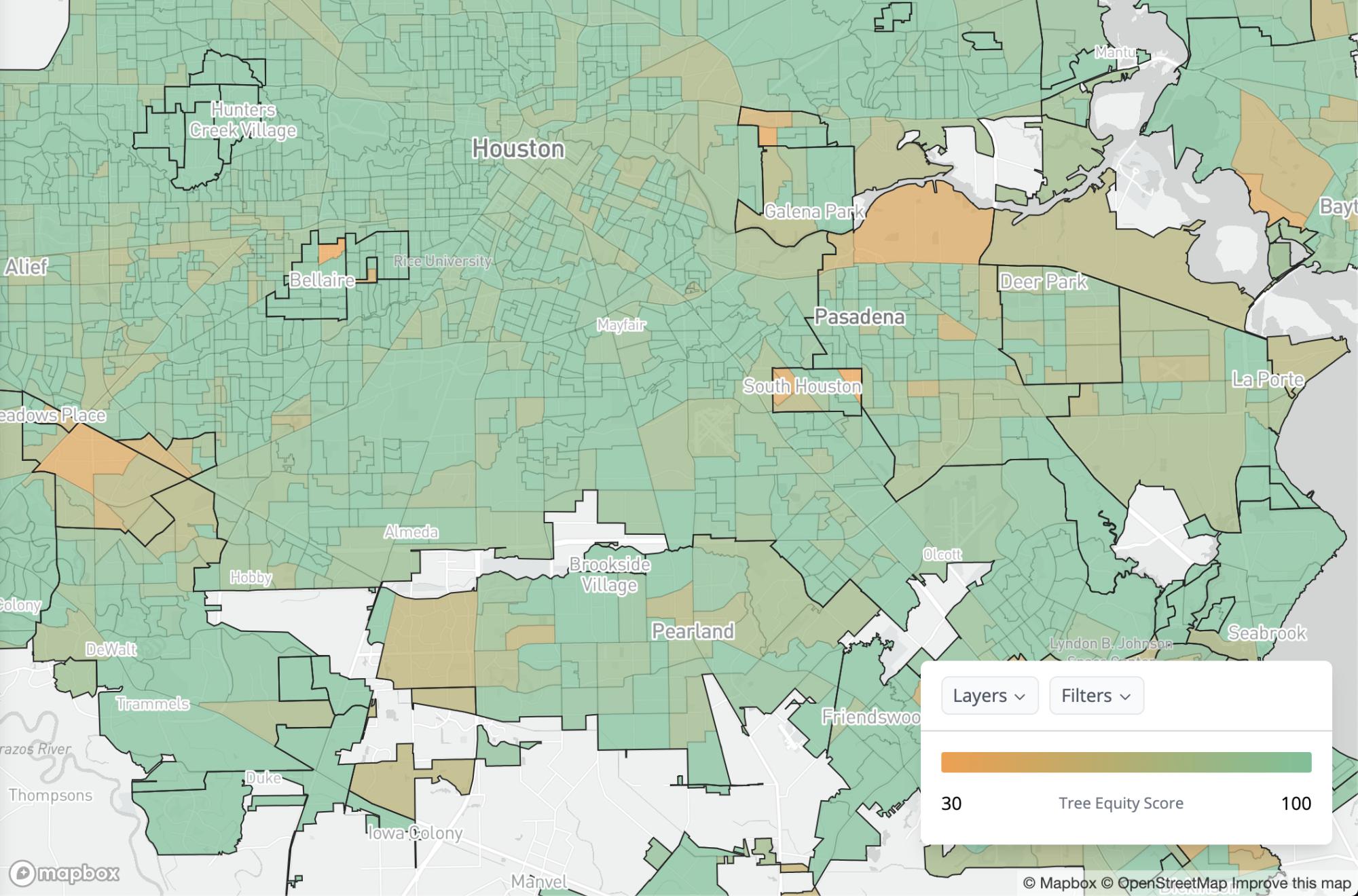 """صورة لـ""""خريطة العدالة في مستوى الأشجار"""" لمدينة هيوستن الأمريكية"""
