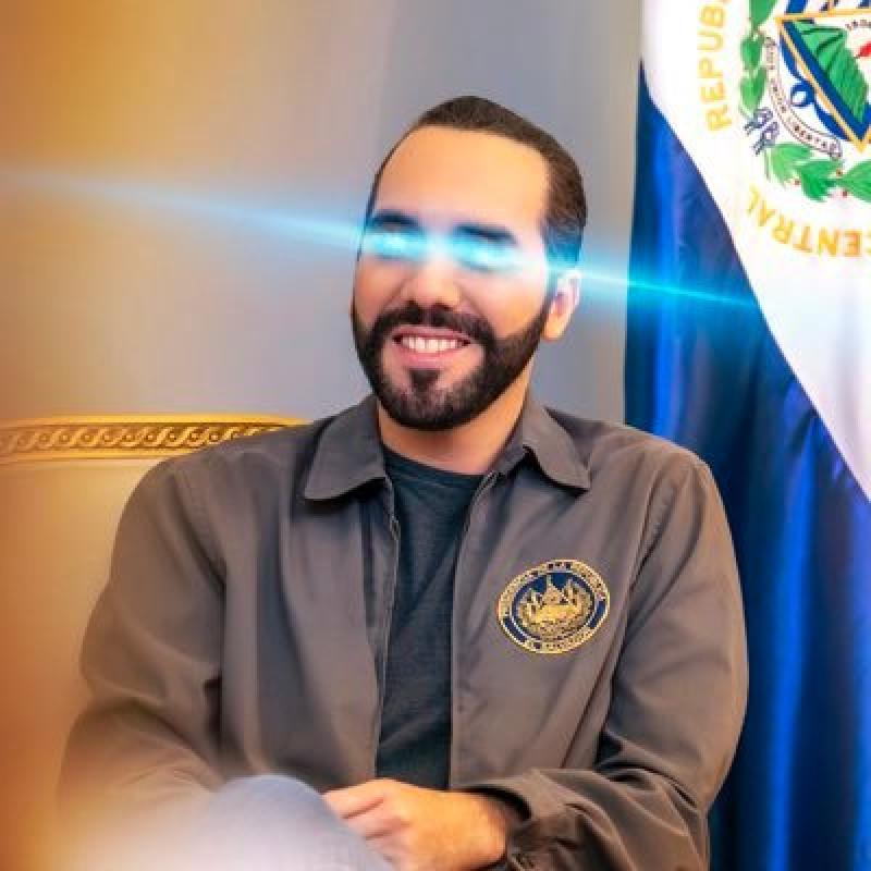 """نجيب بقيلة، رئيس السلفادور يضع """"ليزر"""" ذو لون ياقوتي على عينيه في صورة حسابه على""""تويتر"""""""