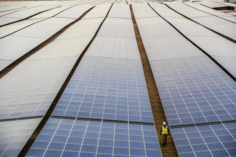 """حقل من الألواح الشمسية بمشروع """"نور""""  للطاقة المتجددة في أبوظبي التابع لشركة """"طاقة"""""""