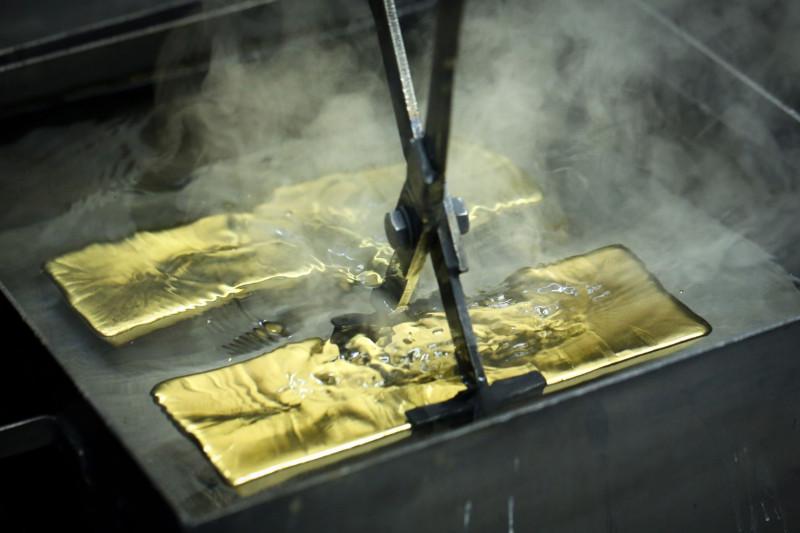 سبائك من الذهب أثناء عملية التنقية