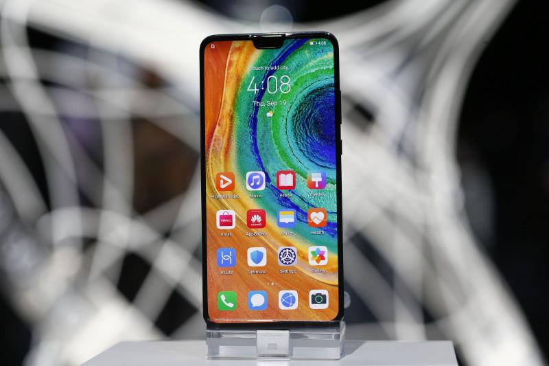 تظهر أيقونات التطبيقات على شاشة للهاتف الذكي الجديد (Mate 30) من شركة هواوي أثناء إزاحة الستار عن الجهاز في ميونيخ، ألمانيا