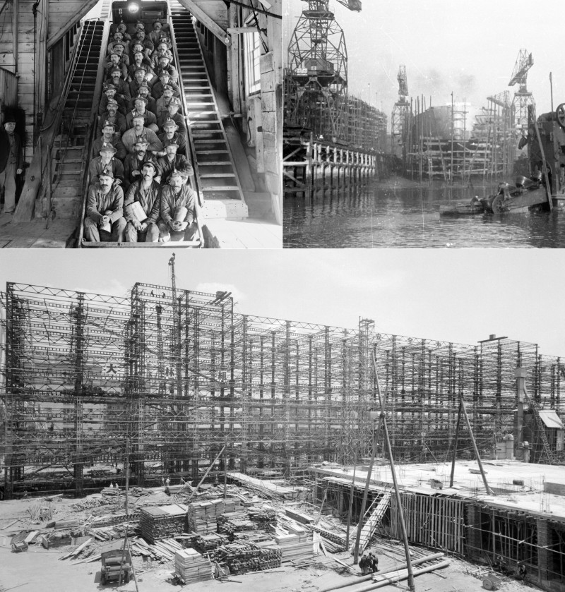 من أعلى يسار الصورة باتجاه عقارب الساعة: عمال مناجم النحاس في ميشيغان الولايات المتحدة 1906 بناء السفن الحربية في حوض للسفن في تينيسايد المملكة المتحدة، عام 1939 بناء مقر قوات الدفاع عن النفس في طوكيو، عام 1955