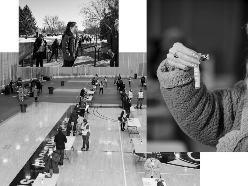مشاهد من حدث اختبار كوفيد قبل عيد الشكر في كلية جوستافوس أدولفوس في سانت بيتر