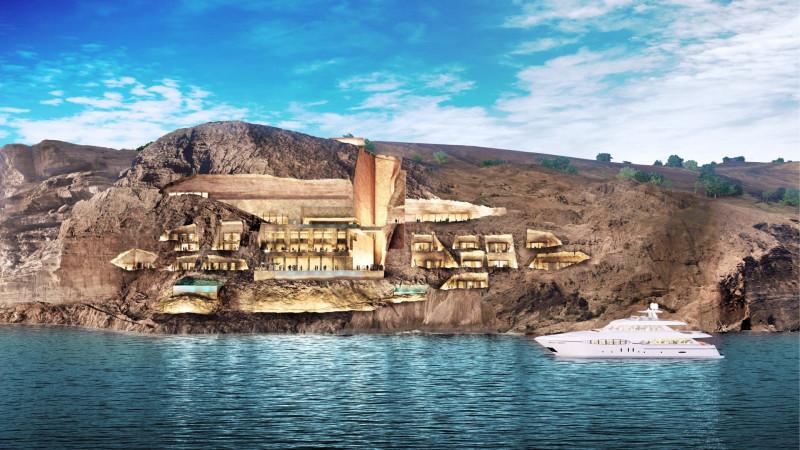 """صورة تخيلية لفندق الصخرة في مشروع """"أمالا"""" السياحي المزمع تنفيذه على ساحل البحر الأحمر. المملكة العربية السعودية"""