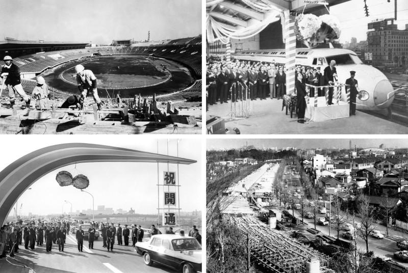 من أعلى اليسار: عمال البناء في الملعب الأولمبي في عام 1963، حفل إطلاق خط قطار طوكيو في الأول من أكتوبر 1964، طريق طوكيو السريع الجديد في يناير 1962. وأخيراً افتتاح طريق العاصمة السريع في 21 ديسمبر 1963.